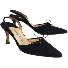 Pre-owned Manolo Blahnik Black Suede Slingback Heels (€145) ❤ liked on Polyvore featuring shoes, high heel slingback shoes, manolo blahnik shoes, black suede shoes, suede leather shoes and sling back shoes