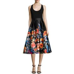 28afbd79c75 Shop Sleeveless Combo Floral Midi Cocktail Dress from Carmen Marc Valvo at Neiman  Marcus Last Call
