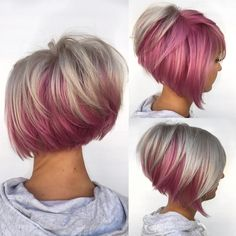 Bold on the Bottom ---- Hairstyles for fine hair tend to look thicker when lighter on the top, and darker on the bottom. Well, what if that darker color is an Choppy Bob Hairstyles, Bob Hairstyles For Fine Hair, My Hairstyle, Short Hairstyles For Women, Short Haircuts, Hairstyles 2016, Hairstyle Ideas, Fat Face Hairstyles, Wedding Hairstyles