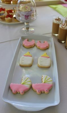 Girl baby shower decorated cookies!  See more party ideas at CatchMyParty.com!
