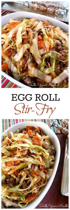 Roll Stir-Fry: all the flavor of an egg roll without the wrapper! Like an unstuffed egg roll in a bowl. So delicious!Egg Roll Stir-Fry: all the flavor of an egg roll without the wrapper! Like an unstuffed egg roll in a bowl. So delicious! Stir Fry Recipes, Low Carb Recipes, Beef Recipes, Cooking Recipes, Healthy Recipes, Cooking Tips, Recipies, Cabbage Recipes, Atkins Recipes