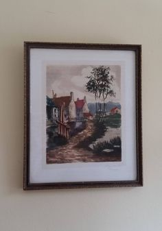 Russian Village Painting Signed - FRAMED 10 x 12 Print - SIGNED Remarof - Village on River Print - Eastern European Country Print by RandomAmazing on Etsy