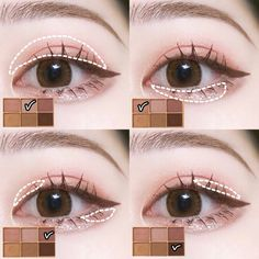 Makeup Inspo, Makeup Inspiration, Makeup Tips, Beauty Makeup, Asian Makeup Looks, Korean Eye Makeup, Makeup Korean Style, Ulzzang Makeup, Kawaii Makeup
