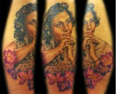 Memorial portrait tattoo of a client's mother  #portrait #tattoo #tattooartist
