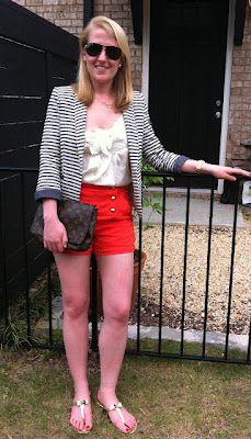 zara striped blazer  joie red button shorts  rebecca taylor silk top  louis vuitton vintage clutch  dee keller bow flats    www.acupoflindsayjo.com