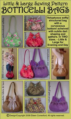 Little & Large BOTTICELLI BAGS Sewing Pattern 2sizes