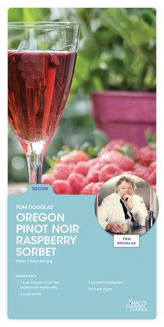 Macy's Culinary Council Chef Tom Douglas' Oregon Pinot Noir Raspberry Sorbet. Great for a sophisticated take on a frozen dessert recipe.