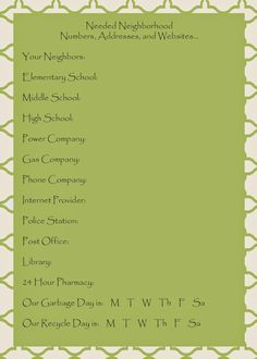 Mom Explores Michigan: Printables for Welcoming New Neighbors! - could adapt to welcome new community builds. ??back ground the Big Pine picture. On card stock w/small magnet for people put on their fridge.... Big Pine contact info at bottom...pic of Big Pine agents too?
