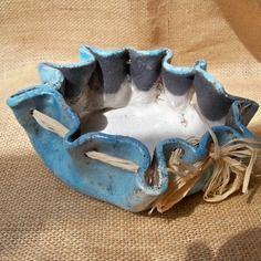 Coupelle vide poches, ou de présentation en ceramique raku turquoise