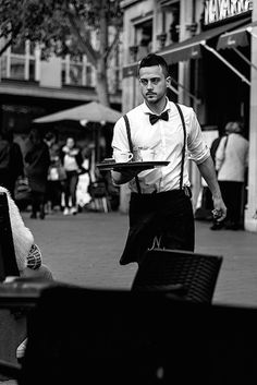 Collated by Eugene Wisotow. 10 Things That Only A Server Would Understand Bartender Uniform, Waiter Uniform, Staff Uniforms, Work Uniforms, Hotel Uniform, Restaurant Uniforms, Hotel Services, Restaurant Design, Burger Restaurant