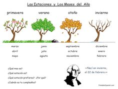 Printable Spanish FREEBIE of the Day: Las Estaciones y Los Meses Handout from PrintableSpanish.com