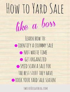 How to yard sale like a boss, ROCK your yard sale season this year!! #twelveOeightblog #yardsale #savemoney #thrifty