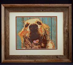Wall Art Golden Retriever Pet Portrait Hand by AnnieBlueHomeDecor