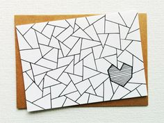 Card - Love card - I love you card - I love u card - Heart card - Valentines day card - Triangle print - Boyfriend - Girlfriend - Printed