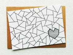 Card - Love card - I love you card - I love u card - Heart card - Valentines day card - Triangle print - Boyfriend - Girlfriend - Printed