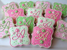 Reserved Listing for Courtney - Sparkling Pink and Green Monogrammed Cookies via Etsy Iced Sugar Cookies, Royal Icing Cookies, Fancy Cookies, Cute Cookies, Cupcakes, Cupcake Cookies, Easter Cookies, Monogram Cookies, Birthday Cookies