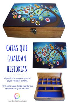 Wooden Box Crafts, Cigar Box Crafts, Painted Wooden Boxes, Painted Jewelry Boxes, Wooden Art, Wooden Memory Box, Dear Jane Quilt, Altered Boxes, Dot Painting