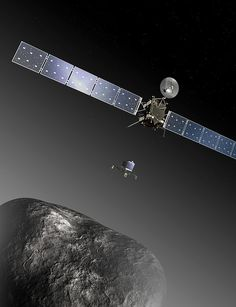 Rosetta is en route to Comet 67P/Churyumov-Gerasimenko, where it will make the most detailed study of a comet ever attempted. It will follow the comet on its journey through the inner Solar System, measuring the increase in activity as the icy surface is warmed up by the Sun. The lander will focus on the composition and structure of the comet nucleus material. It will also drill more than 20cm into the subsurface to collect samples for inspection by the lander's onboard laboratory.