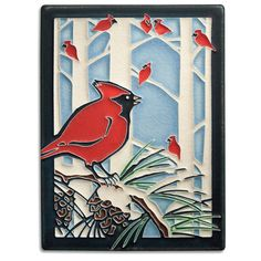 6x8 Winter Cardinals from Motawi Tileworks