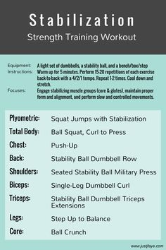Stabilization Strength Training Workout: based off the 1st phase of NASM's OPT Model, focusing on low weights, high reps, and unstable environments   www.justjfaye.com #workout #exercise