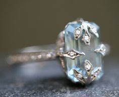 Platinum Aquamarine and Diamond Ring, yes please!
