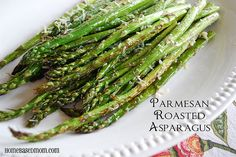 Parmesan Roasted Aspargus: place in single layer on pan. Sprinkle w/ pepper & sea salt. Drizzle w/olive oil. put in 400 degree oven for 10 min.  Sprinkle w/ parmesan, Return to oven to melt cheese.
