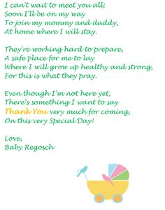 Thank You Note From Baby. Baby Shower PoemBaby ...