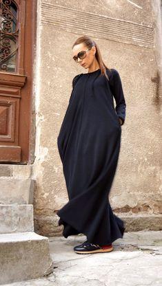 New Spring Maxi Dress / Black Kaftan Cotton Dress /Side Pockets Dress / Extravagant Cotton Party Dress /Daywear Dress Modest Dresses, Trendy Dresses, Nice Dresses, Will Turner, Black Kaftan, Dress Black, Boutique, Models, Overall