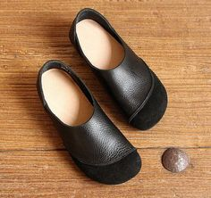 Black Handmade Shoes,Oxford Women Shoes, Flat Shoes, Retro Leather Shoes, Casual Shoes,Slip Ons,Loafers Very Comfortable Shoes