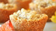 Little mini-apple crisps baked in buttery sweet oat cups make yummy one-bite treats.