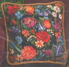 """VINTAGE 1995 DIMENSIONS """"FLORAL HEART PILLOW"""" NEEDLEPOINT KIT ~ SEALED #Dimensions"""