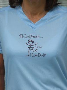 Blue Tech running shirt with EliZabeth  Meduim by empoweredzone, $25.00