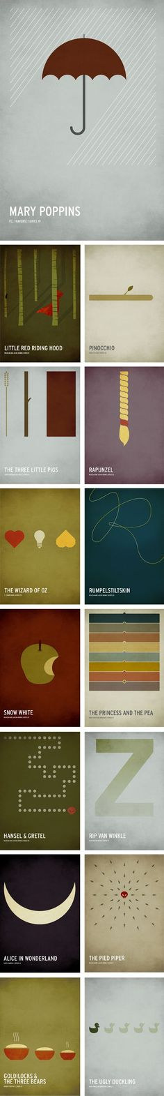 i dont think this has anything to do with logos but this is pretty sweet! minimalist fairy tale posters