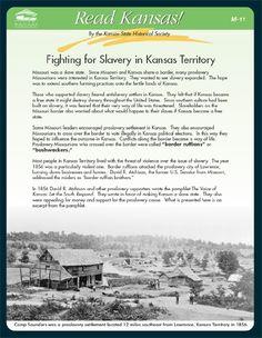 Dispute Over Slavery in Kansas Territory, Read Kansas! cards