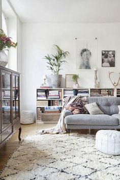 Grey sofa with white