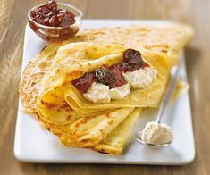 Découvrez notre #recette de #crêpes à la ricotta et #confiture de cerise noire.