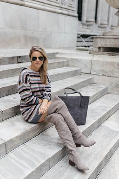 Striped Sweater Dress | Gray Over the Knee Boots