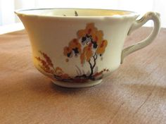 WEDGWOOD  & Co, Creamer and cup, antique, dated approx 1908, orange, yellow, black, grey, birds in flight, Asian inspired, bridge, trees Orange Yellow, Yellow Black, Wedgwood, Birds In Flight, Vintage Items, Bridge, Trees, Asian, Mugs