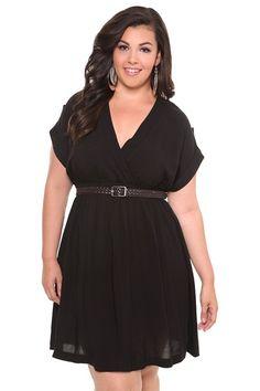 Black Challis Dress with Belt, $64.50, #torrid, #littleblackdress