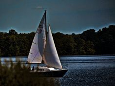 On the Water Sailboat Outdoor Photography  lake boat by DebNyman, $6.00