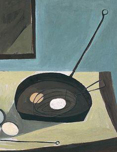 William Scott, Still life with candlestick, 1949 (detail).