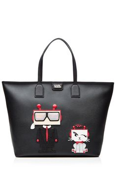 Karl & Choupette Lagerfeld Robot Leather Tote
