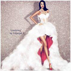 Stunning Haute Couture Illustrations by Zoljargal Enkhbold - Be Modish Dress Illustration, Fashion Illustration Dresses, Fashion Illustrations, Fashion Design Drawings, Fashion Sketches, Fashion Drawing Dresses, Fashion Dresses, White Lace Corset, White Dress