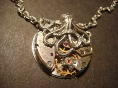 Steampunk Octopus Necklace on Vintage Watch by CreepyCreationz, $31.00