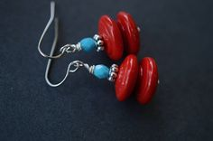 Red Saucer Earrings These are just adorable! I love the bright colors! Made with red ceramic saucer