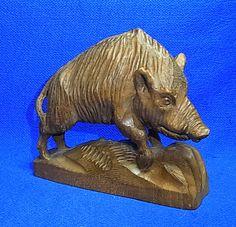 Vintage Franco Italian Handicraft Wood Carved Wild Boar Figurine / Figure #A