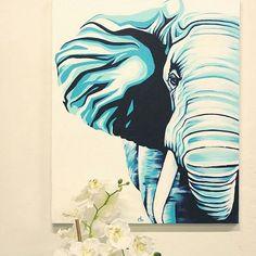 "Gorgeous great painting. .!!  .Credit : @cheneybesharaart - ""Teal Tembo""  20x24"" acrylic on canvas impasto background. . #elephant #elephants #elephantlove"