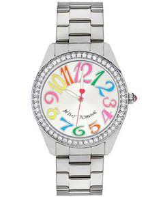 Betsey Johnson Watch, Women's Silver-Tone Bracelet 40mm BJ00190-49 - Watches - Jewelry & Watches - Macy's