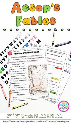 Are you looking for and grade fables reading comprehension passages for Common Core Standard and These Aesop's fable passages will make using text evidence engaging. Students color code their answers. Petfect for test prep! 2nd Grade Ela, Third Grade Reading, 2nd Grade Classroom, Second Grade, Classroom Ideas, Reading Lessons, Reading Skills, Teaching Reading, Guided Reading