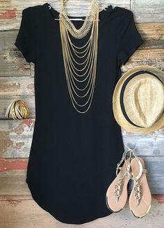 Round Neck Short Sleeve Black T Shirt on sale only US$19.96 now, buy cheap Round Neck Short Sleeve Black T Shirt at lulugal.com